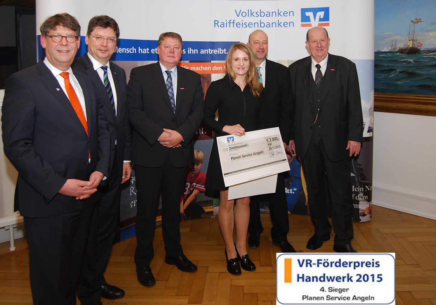 Presentation of the VR-advancement award to Christin Jensen, Planen Service Angeln, in Kiel